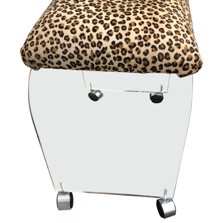 Animal Skin Mid-Century Modern Waterfall Lucite Stool or Bench with Faux Cheetah Fabric For Sale