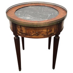 Mid-19th Century Louis XVI French Marquetry Bouillotte Table Black Marple Top