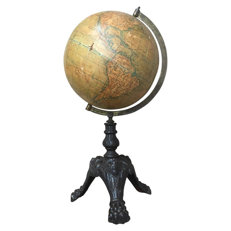 Small Antique Desk Globe on Black Metal Stand For Sale - Small Antique Desk Globe On Black Metal Stand For Sale At 1stdibs