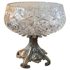 Large Crystal Centerbowl On Rococo-style Bronze Stand