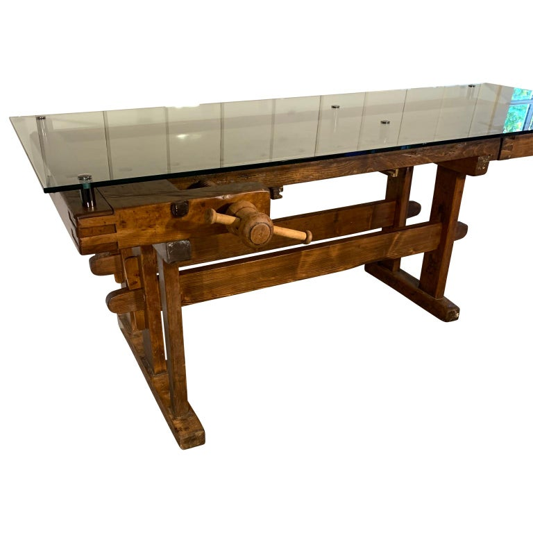 Early German carpenter's and joiner's workbench with chrome standoff glass top.  Clear 1/2