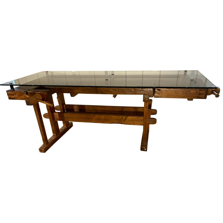 Rustic Early German Carpenter's and Joiner's Workbench with Chrome Standoff Glass Top For Sale