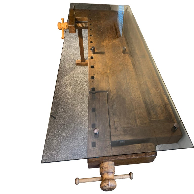 Tempered Early German Carpenter's and Joiner's Workbench with Chrome Standoff Glass Top For Sale