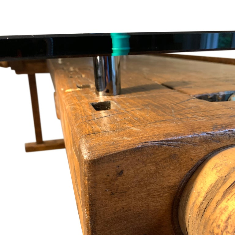 Early German Carpenter's and Joiner's Workbench with Chrome Standoff Glass Top In Good Condition For Sale In Haddonfield, NJ