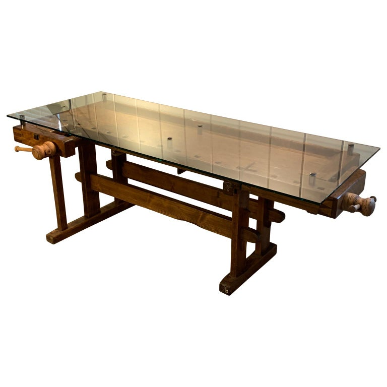 Early German Carpenter's and Joiner's Workbench with Chrome Standoff Glass Top For Sale 1