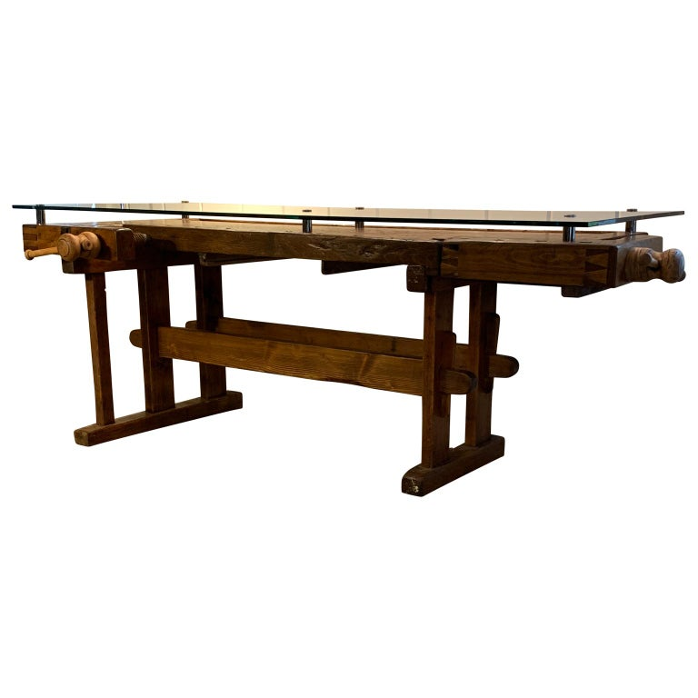 Early German Carpenter's and Joiner's Workbench with Chrome Standoff Glass Top For Sale 2