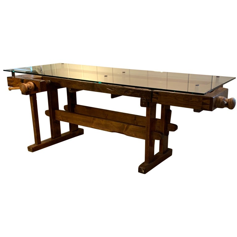Early German Carpenter's and Joiner's Workbench with Chrome Standoff Glass Top For Sale 3