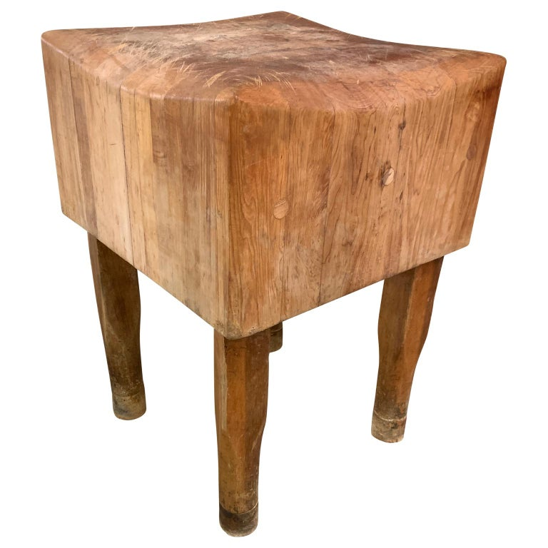Large American Square Butchers Block Table For Sale