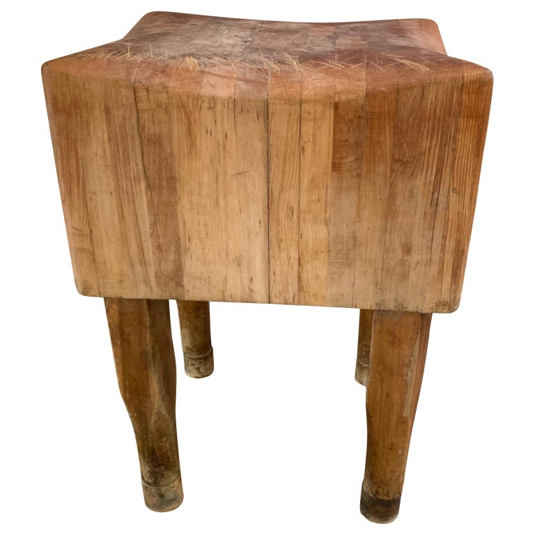 Rustic Large American Square Butchers Block Table For Sale