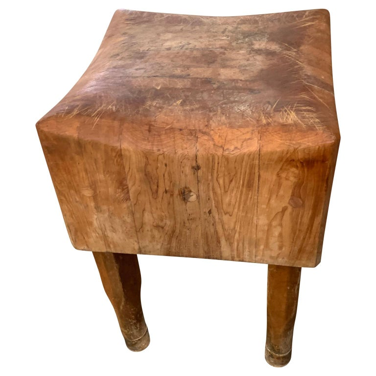 20th Century Large American Square Butchers Block Table For Sale