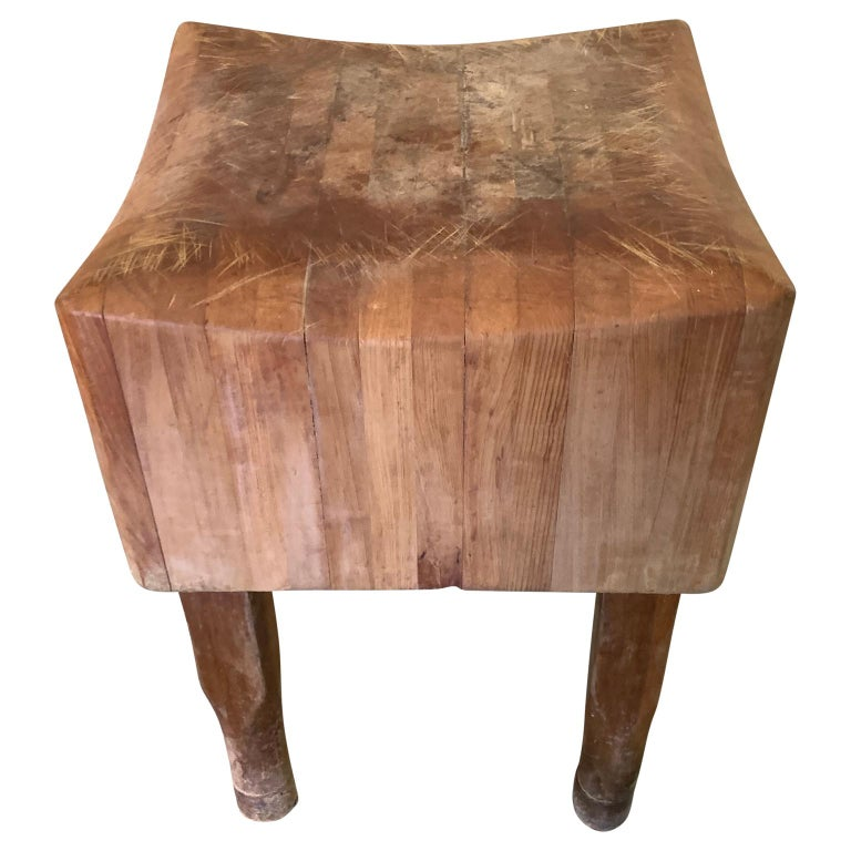 Large American Square Butchers Block Table For Sale 1