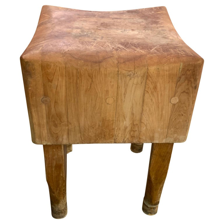 Large American Square Butchers Block Table For Sale 2