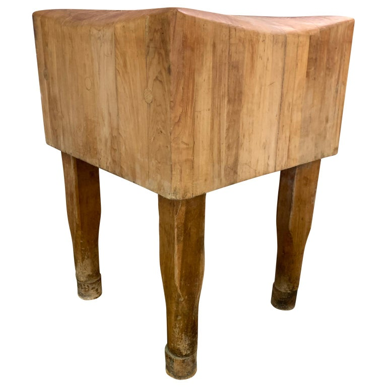 Large American Square Butchers Block Table For Sale 3