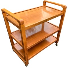 Danish Mid-Century Modern Three-Tier Birch Wood Bar Cart