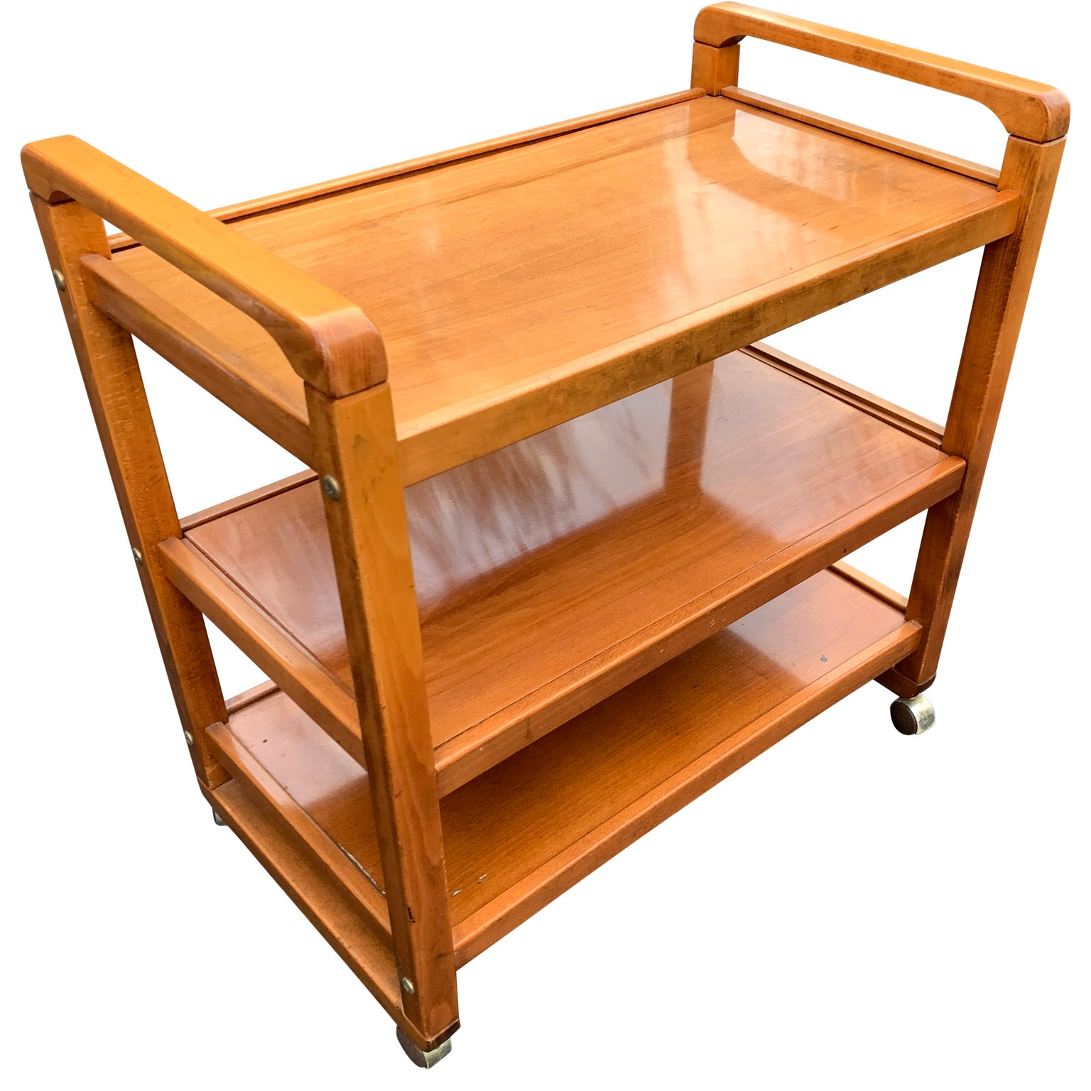 Danish mid century modern three tier birch wood bar cart for sale at 1stdibs