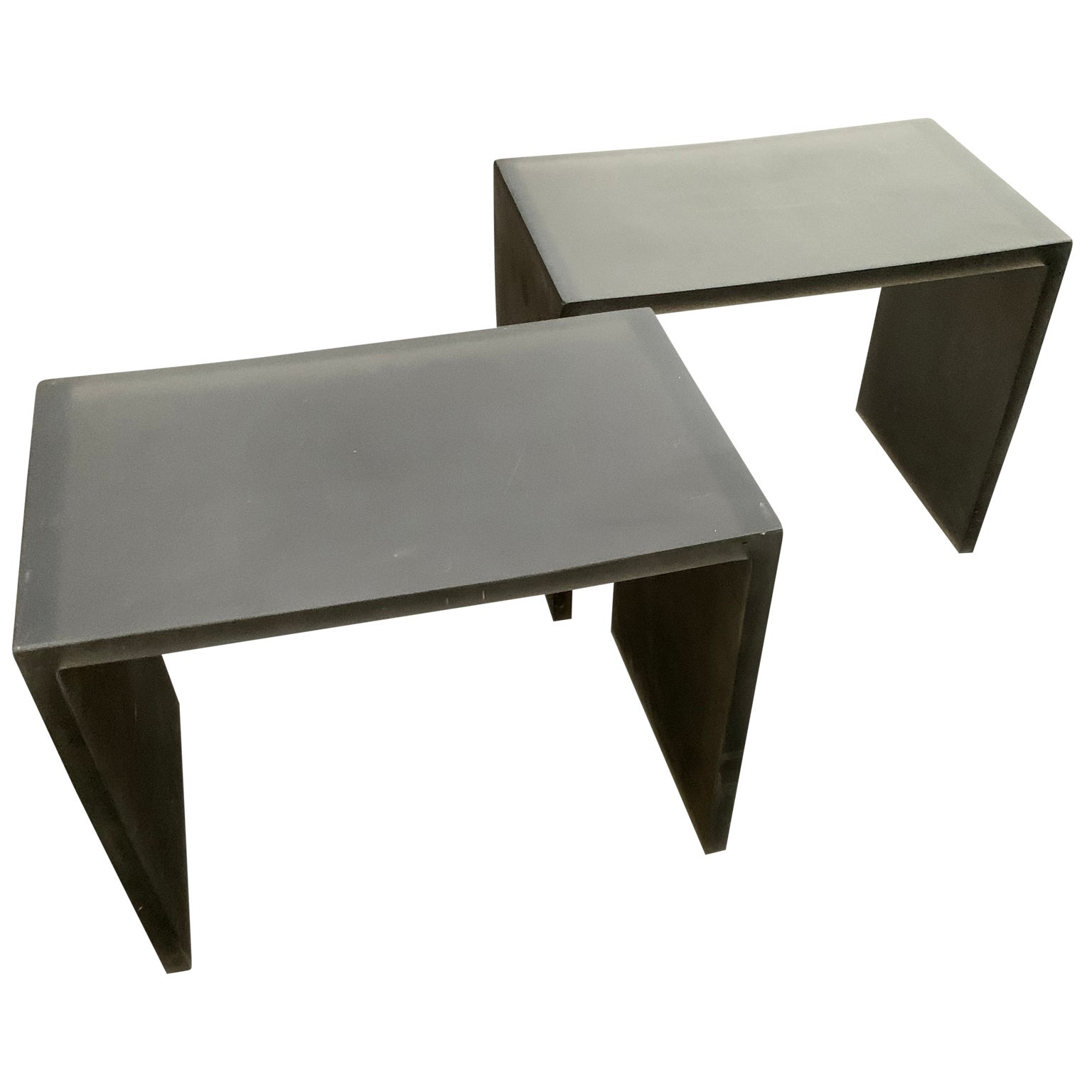 Pair of Mid-Century Modern Black Frosted Lucite Side Tables or Benches