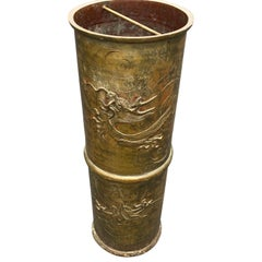 Late 19th Century Chinese Bronze Umbrella Stand with Dragon Decoration