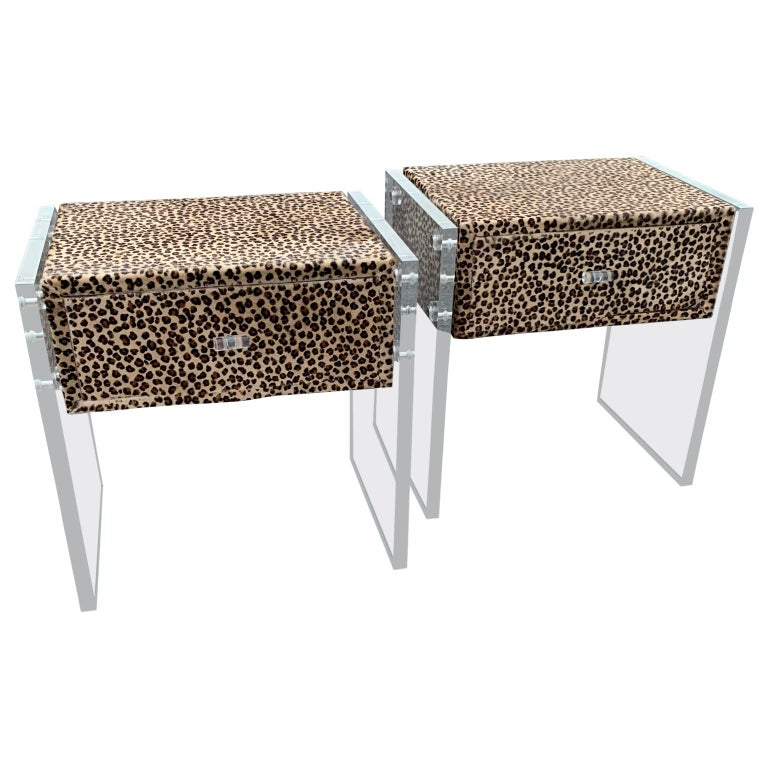 Pair of Faux Cheetah Skin Upholstered Nightstands with Lucite Side Panels For Sale