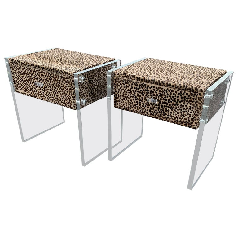 Mid-Century Modern Pair of Faux Cheetah Skin Upholstered Nightstands with Lucite Side Panels For Sale
