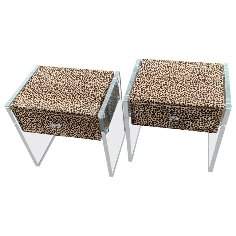 American Pair of Faux Cheetah Skin Upholstered Nightstands with Lucite Side Panels For Sale