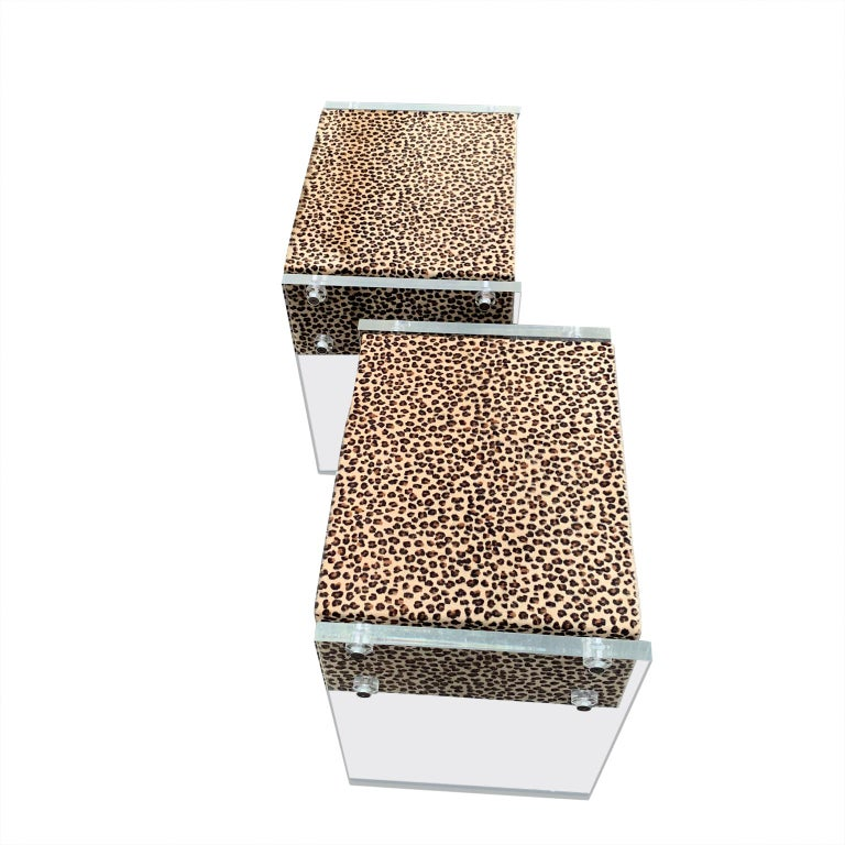 Hand-Crafted Pair of Faux Cheetah Skin Upholstered Nightstands with Lucite Side Panels For Sale