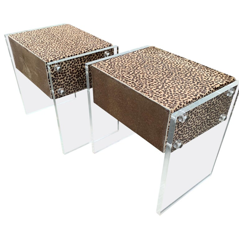 20th Century Pair of Faux Cheetah Skin Upholstered Nightstands with Lucite Side Panels For Sale