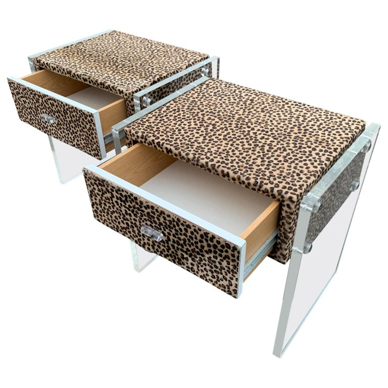 Pair of Faux Cheetah Skin Upholstered Nightstands with Lucite Side Panels For Sale 3