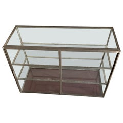 Early American Vintage Two-Tier Sheet Metal Table Top Shop Display Case