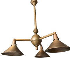 Large Vintage Brass 3-Light And Shade Kitchen Pendant
