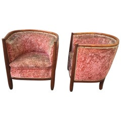 Pair of French Art Deco Barrel Club Chairs in Original Pink Velvet Fabric