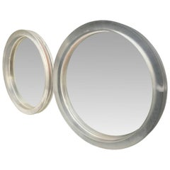 Pair Of Large Modern Round Thick Lucite Mirrors