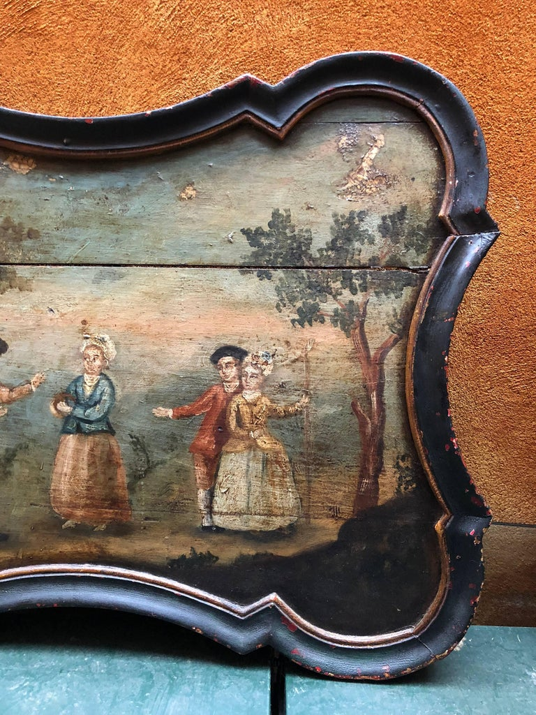 Pair of Early Swedish Rococo Folk Art Wooden Paintings or Table Tops For Sale 10