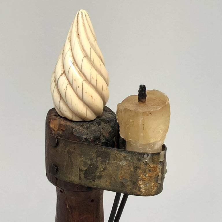Early 19th century Danish Folk Art candlestick with faux flame of antler single