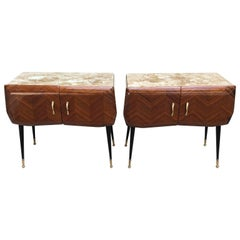 Pair of Italian Mid-Century Modern Vittorio Dassi Bed Side Tables Or Cabinets