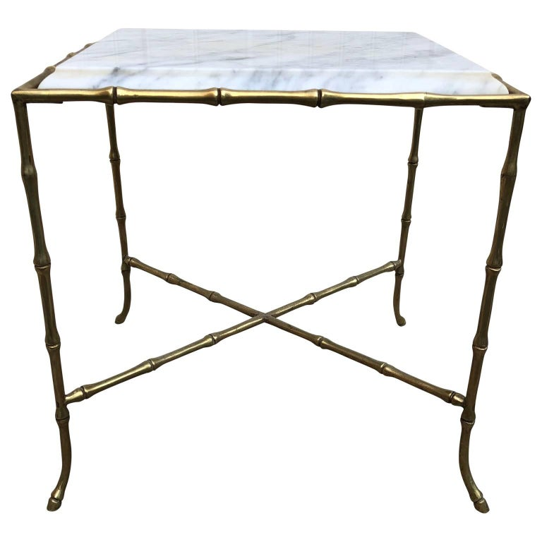 French Faux Brass Bamboo Marble-Top Table