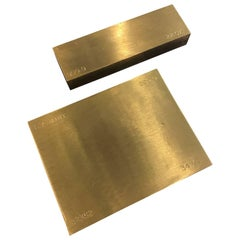 Set of Two Gold Bar Style Brass Paperweights
