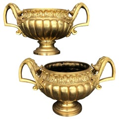Pair of Late 19th Century Ormolu Gilt Urns or Planters