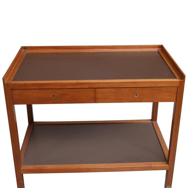 Serving trolley with brass fittings and castors, front with two drawers. Top and shelf covered with brown laminate. Made to order in 1931. Provenance: Professor Mr. Oscar Alfred Borum, hence by descent in the family. Due to the friendship between