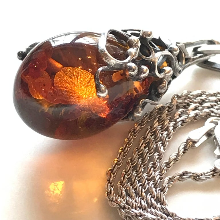 Scandinavian Modern Scandinavian Amber Pendant and Sterling Silver Necklace For Sale