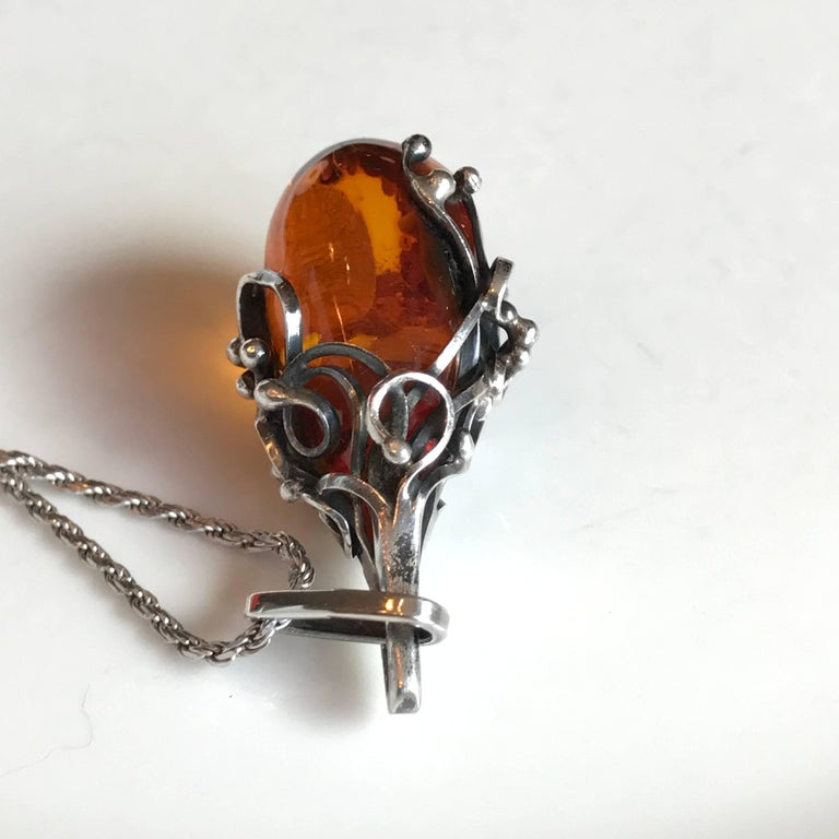Danish Scandinavian Amber Pendant and Sterling Silver Necklace For Sale