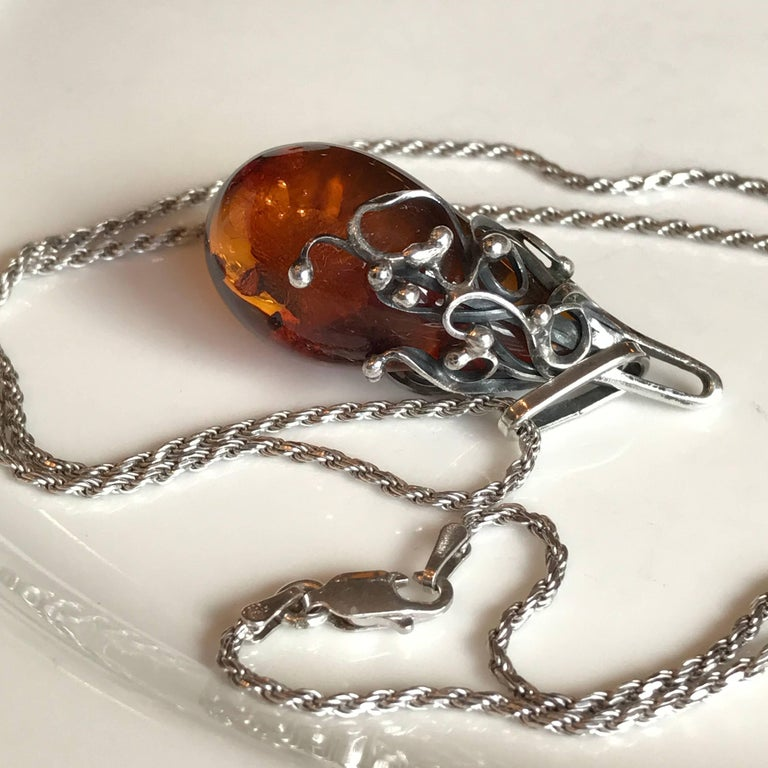 Scandinavian Amber Pendant and Sterling Silver Necklace In Good Condition For Sale In Haddonfield, NJ