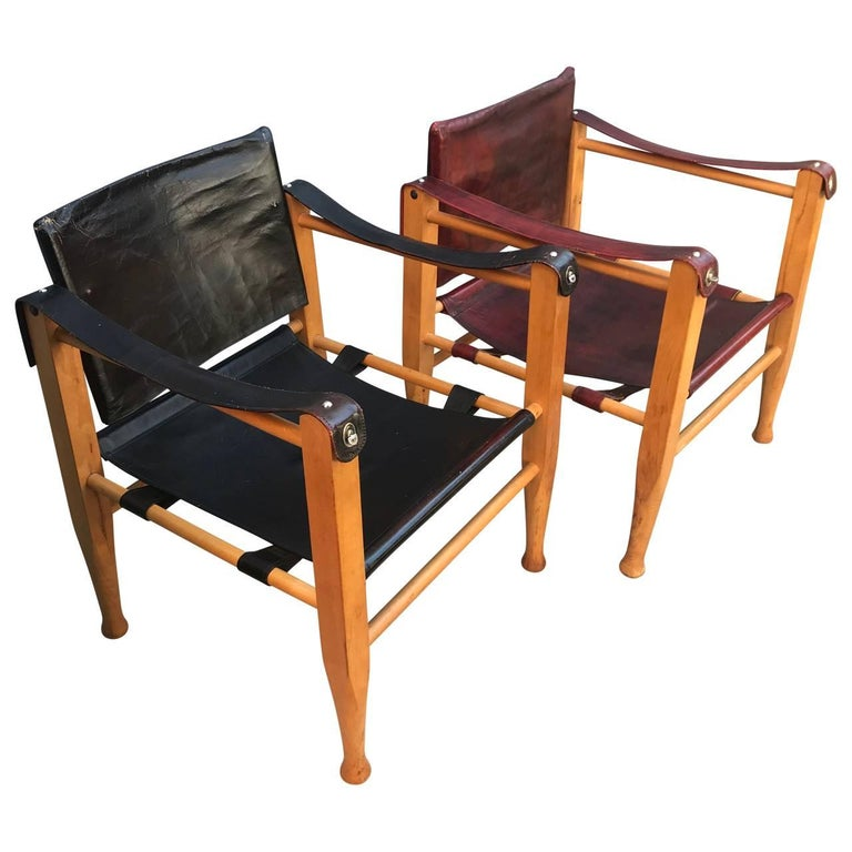 Leather Set of Danish Two Mid-Century Modern Safari Chairs, One Red and One Black For Sale