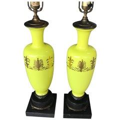 Pair of Chartreuse Yellow Opaline Table Lamps