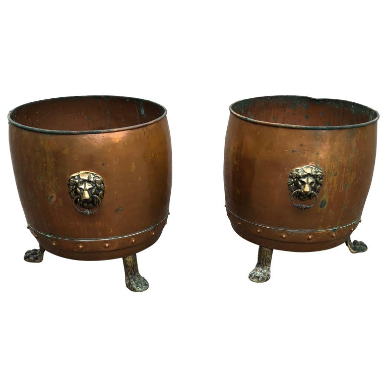 Pair of English Copper and Brass Planters or Jardinières