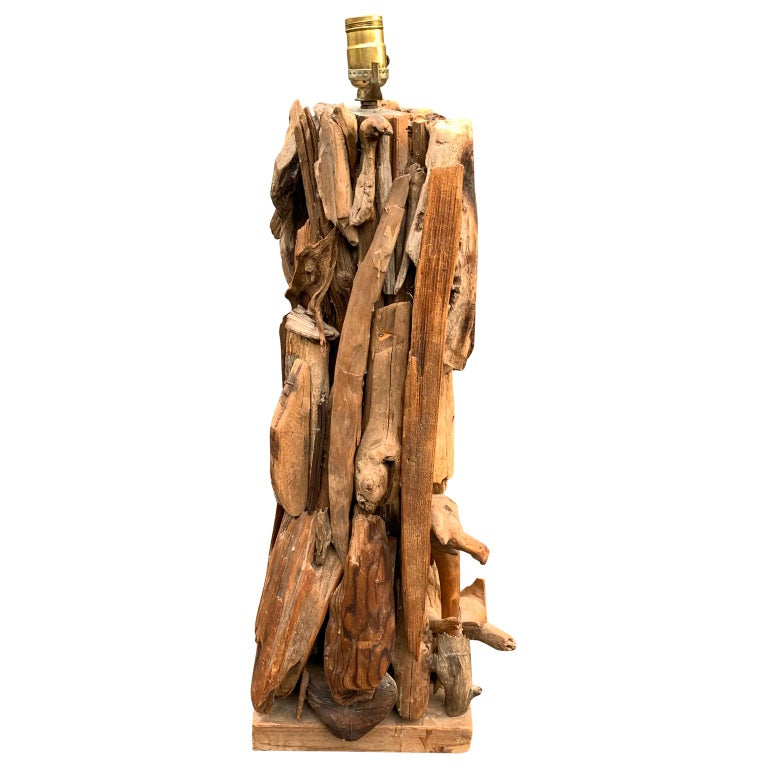 Large 1950s driftwood table lamp.  Harp and finial can be sourced if needed.