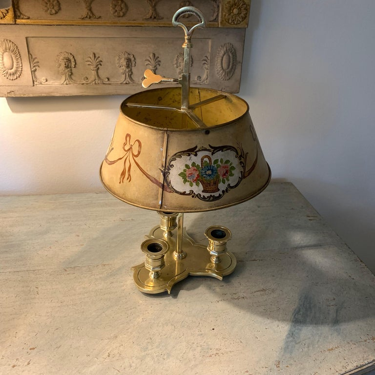 Solid Brass Bouillotte Lamp with Heart Decorated Lever For Sale 6
