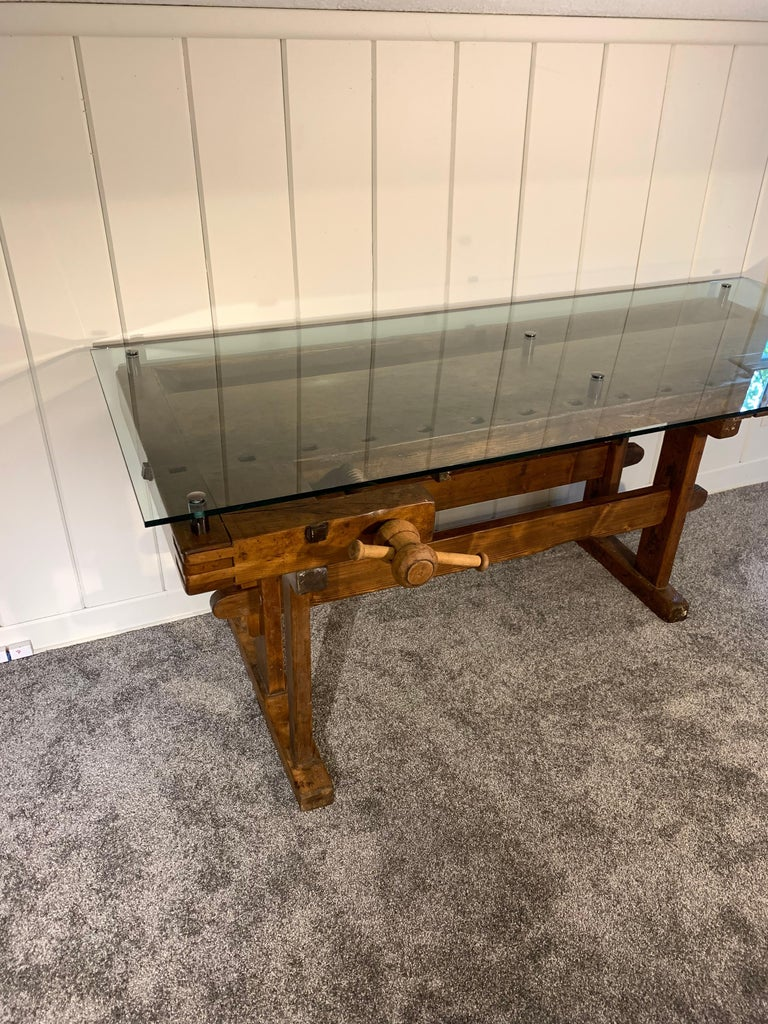 Early German Carpenter's and Joiner's Workbench with Chrome Standoff Glass Top For Sale 4