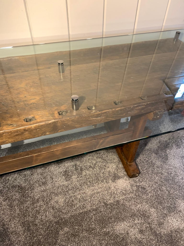 Early German Carpenter's and Joiner's Workbench with Chrome Standoff Glass Top For Sale 6