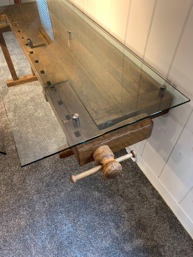Early German Carpenter's and Joiner's Workbench with Chrome Standoff Glass Top For Sale 7