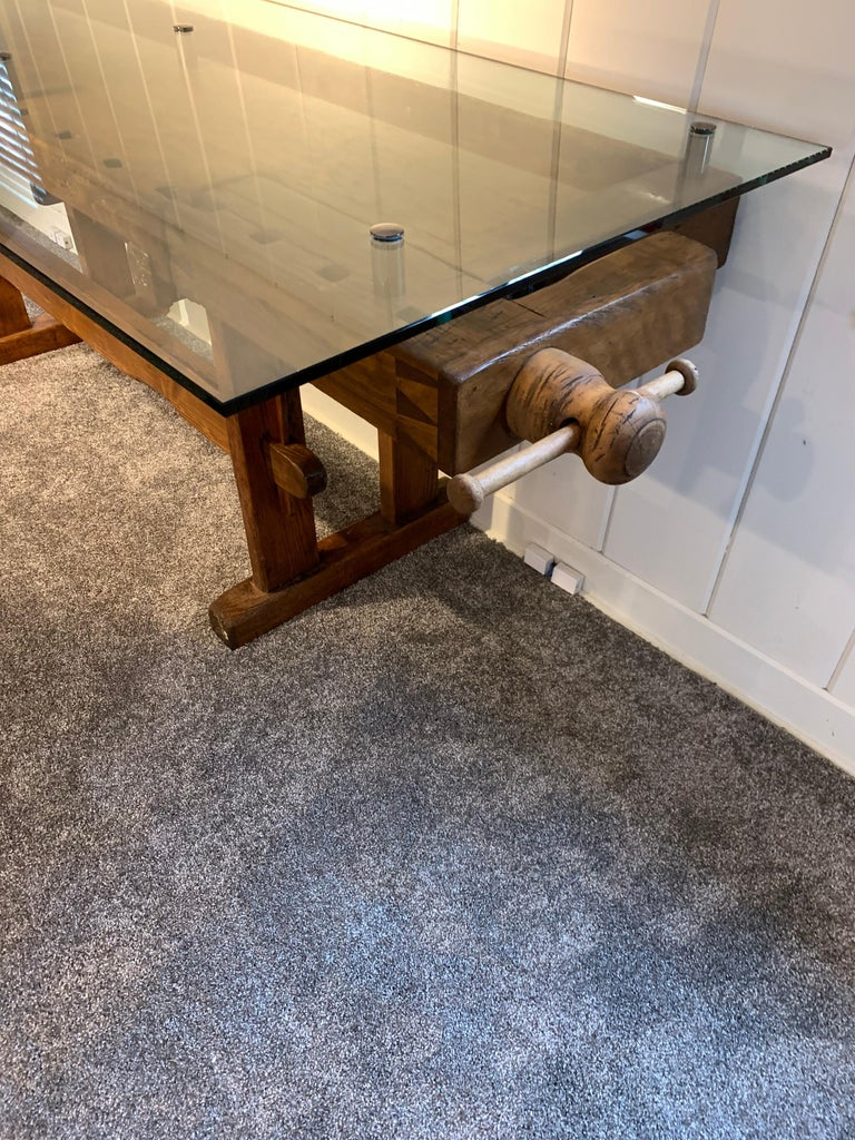 Early German Carpenter's and Joiner's Workbench with Chrome Standoff Glass Top For Sale 8